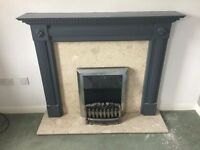 DETAILED FIRE SURROUND WITH GAZCO ELECTRIC FIRE, SOLID MARBLE BACK & HEARTH