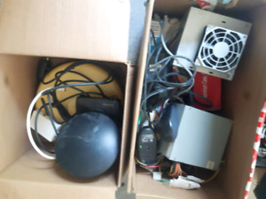 Boxes of computer supplies