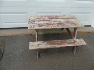 CHILDS WOODEN, HAND MADE PICINIC TABLE