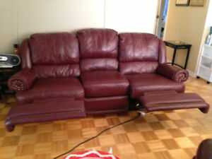 Burgandy Reclining Sofa and Loveseat