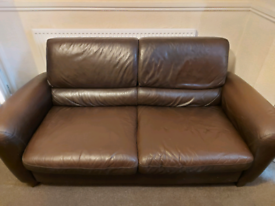 Large leather 2 seater and recliner chair