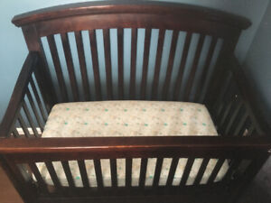 Solid wood Crib and Mattress with covers