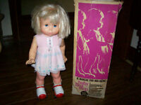 Vintage 1964 roller skates BABY FIRST STEP DOLL by Mattel in Ori