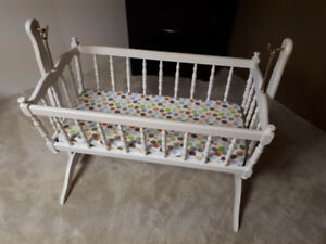 Antique wooden baby cradle