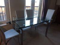 Chrome/glass designer dining table