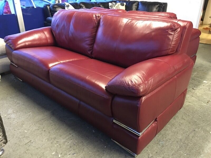 Littlewoods Primo 3 Plus 2 Seater Red Italian Leather Sofa