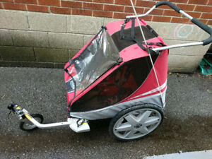Chariot 2-child bike trailer with extra bike attachment