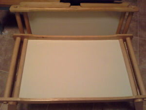 2 bed serving trays wood and white melamine