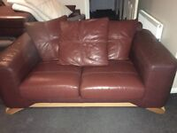 DFS brown leather 3+2 and foot stool