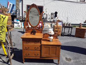 SUPERB  SIDE BY SIDE ANTIQUE DRESSER / WASH STAND ONLY $175.00