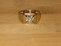 PRICE REDUCED: 14k gold diamond solitaire ring, size 9.50