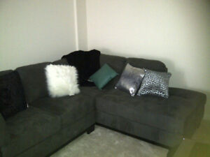 Suede Grey Sectional Couch