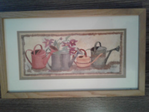 Delightful Watering Cans framed print