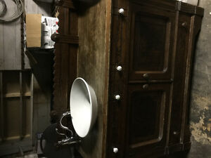 Antique Wood Cabinet with Koehler Sink