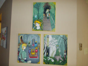 Collection of three Legend of Zelda paintings