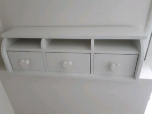 White Three drawer childrens  Desk Top unit