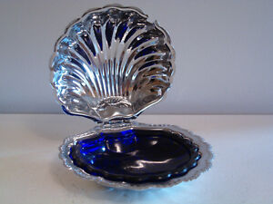 Silver metal & glass vintage butter dish + similar candy dish