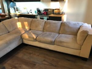 Faux suede sectional couch