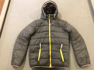 UNISEX REVERSIBLE 2-IN-1 HOODED KIDS JACKET, SIZE 12