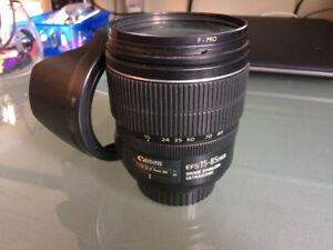 Lentille Canon EF-S 15-85mm f/3.5-5.6 IS USM + filtre B+W UV