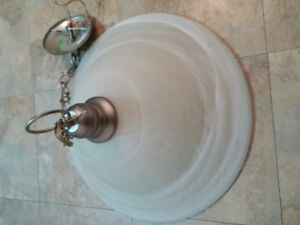Large, single bulb frosted light