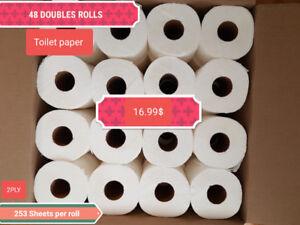 48 ROULEAUX DOUBLES TOILETTE PAPIER 17$