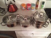Swan stainless steel pans and steamer