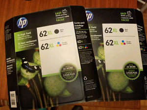 Two boxes of HP 62 ink XL