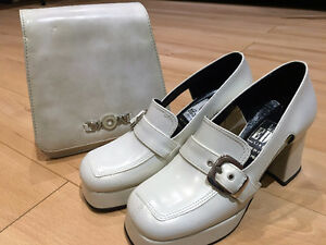 * Brand New, White Leather Shoes & Matching Purse, Made in Italy