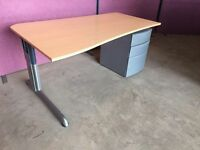 Modern 1600 beech wave office desk with ped