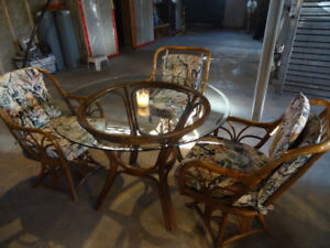 """48"""" Round Cane table and 3 matching chairs"""