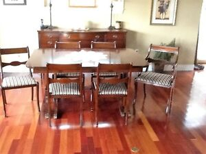 Solid mahogany dining room table,chairs and sideboard