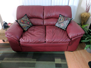 Bricks-Genuine Leather Sofa & Loveseat-Less than a year old....