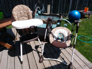 High chair, swing and play pen
