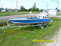 14 foot aluminum boat w trailer and engin