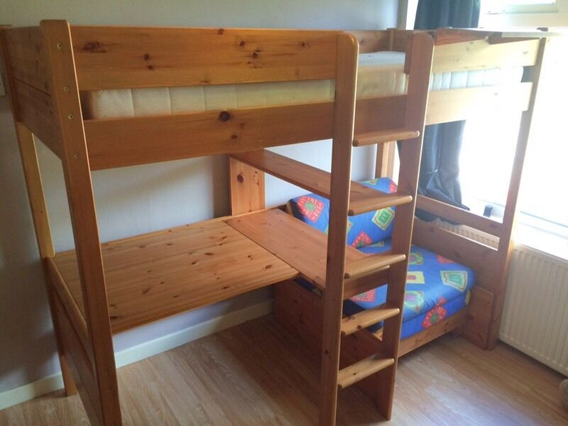 STOMPA- amazing solid pine wood high bed/desk/guest bed ...