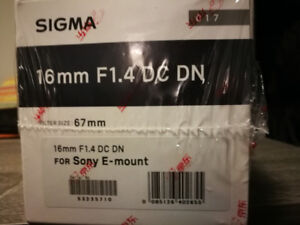 Brand new in box Sigma 16mm f1.4 for Sony E mount