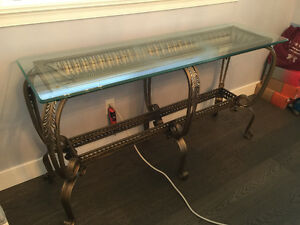 Brass antique style console table