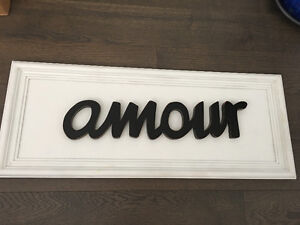 "Amour 3D wood on wood 36"" X 14"""