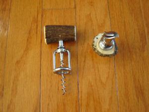 tire-bouchon et verseur vintage avec manche en corne de cerf