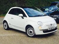 2008 Fiat 500 1.4 LOUNGE 3 Door White only 43041 Miles FSH PANORAMIC ROOF SUPERB