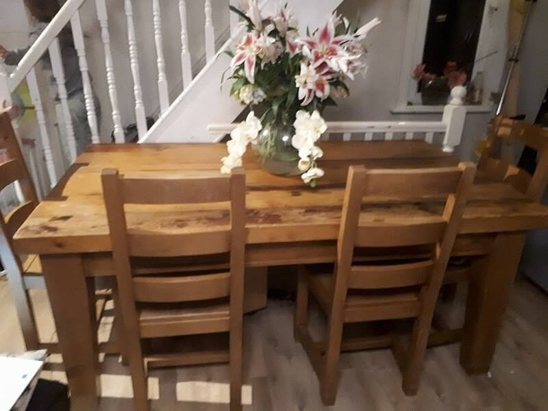Chunky Solid Wood Dining Table And 6 Chairs Handmade Quality In