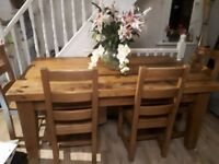 Chunky solid wood dining table and 6 chairs, handmade, quality
