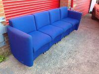Blue large fabric sofa 4seater