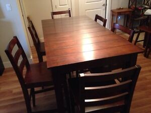 Pub height dinette two square tables & six chairs
