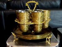 PEACOCKS ELEPHANTS lassi cup set in Tray Holder ORNATE INDIA