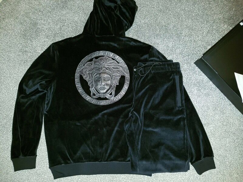 Brand New Versace Velvet Tracksuit Black In Hall Green