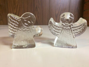 Christmas glass angels candle holders - Made in Mexio