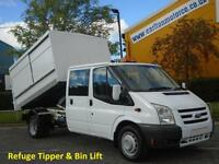 2009/ 59 Ford Transit 115 460 Lwb D/Cab Refuged Tipper Wheelie Bin Lift DRW