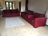 3 Piece Red Leather Sofa Suite 3 + 2 Seater + Armchair